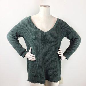 BB Dakota Green Knitted V Neck Sweater Med